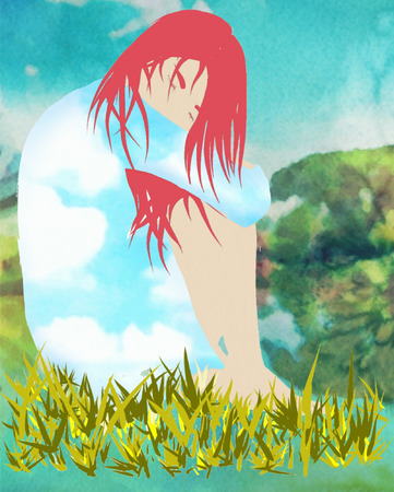 crouch: Girl in the grass warm spring day Illustration