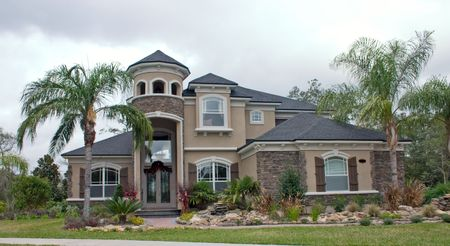 home accents: newly constructed home with stone accents on front faces