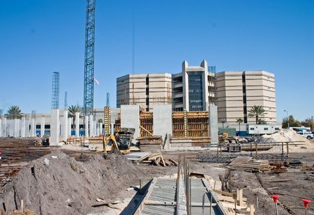 new foundation at a construction site for a luxury condominium