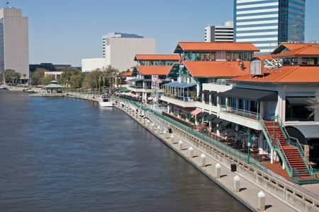 Riverfront area of Jacksonville, Florida with assorted dining and shopping opportunities