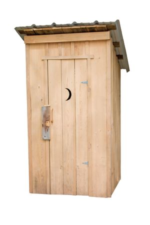 privy: isolated image of a cypress outhouse  Stock Photo