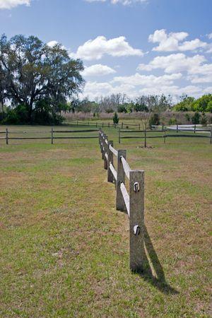 split rail: post style split rail fence in pasture