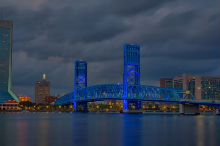 Night time HDR image of Jacksonville, Florida blue bridge Фото со стока