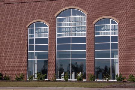 trio: trio of large windows in church sanctuary