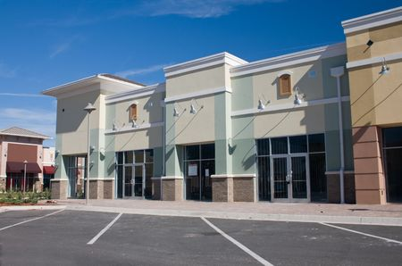 commercial real estate: newly constructed commercial mall with brick accents Stock Photo