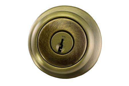 door knob: new, brushed brass finish door knob on white Stock Photo