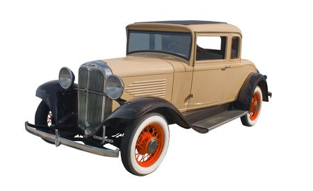 coupe: classic 1930s tan coupe with orange spoked wheels Stock Photo
