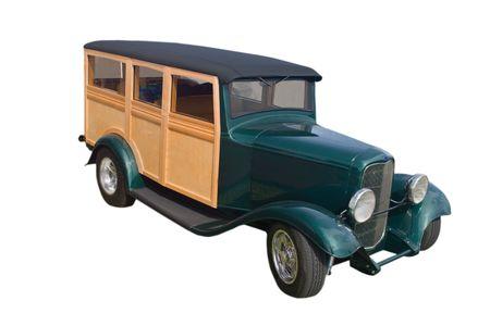 panel van: retro green woody panel van