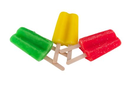 popsicles: isolated image of red, green, yellow popsicles Stock Photo