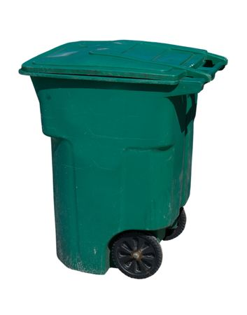 large, green wheeled trash can on white Stock Photo - 2671066