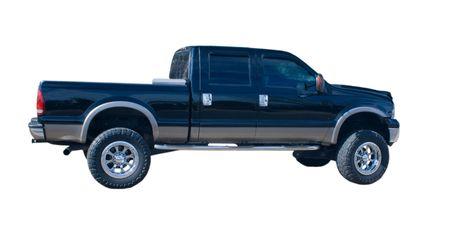 montacargas: negro 4x4 camioneta cuatro puertas con grandes neum�ticos knobby