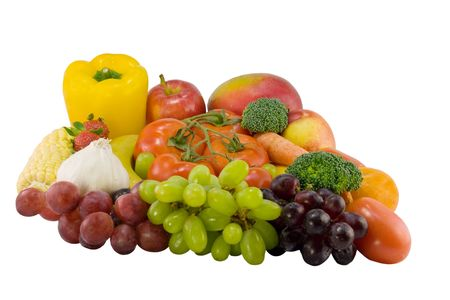 large group of fruits and vegetables isolated on white