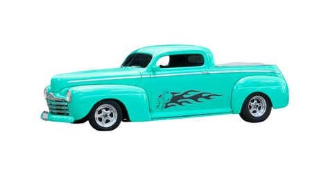 custom, mint green chopped hot-rod isolated on white