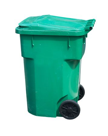 large, green, wheeled trash can on white