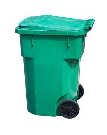 wheeled: large, green, wheeled trash can on white