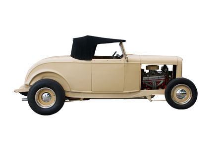 street rod: clean, tan convertible hotrod on white