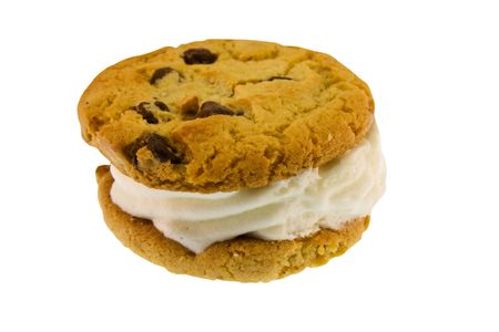 indulgence: chocolate chip ice cream sandwich isolated on white