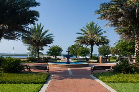 peaceful waterfront park with tropical feel in St. Marys Georgia Stock fotó