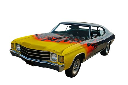 hotrod: yellow blended to red flames, black hotrod on white Stock Photo