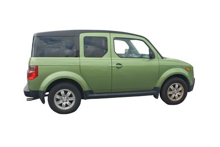 crossover: green compact crossover SUV isolated on white