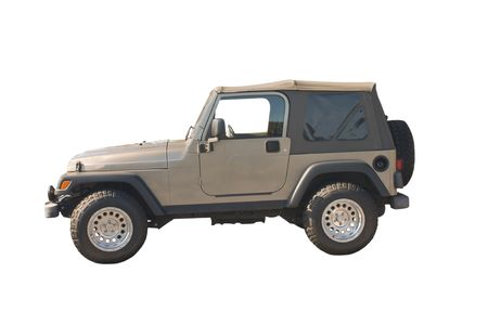 knobby: rugged brown SUV convertible with knobby offroad tires