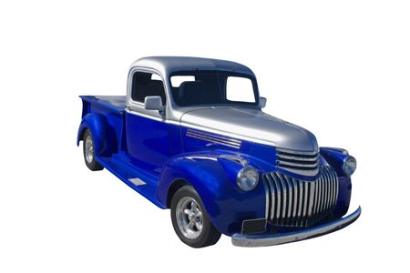 vintage truck: retro blue and silver pickup truck