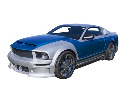 白で隔離される現代の青と銀筋肉車 写真素材