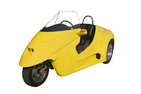 mpg: furturistic 45 mpg yellow trike on white