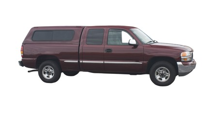 maroon extended cab pickup truck with topper