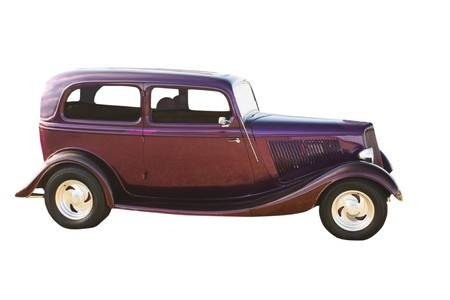 deep purple hotrod with polished mags and suicide doors
