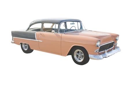 two tone: retro, classic two tone muscle car sedan isolated on white