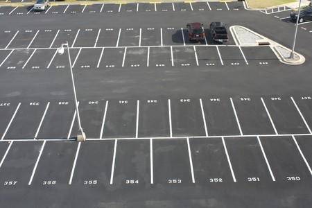 empty space: large numbered space parking lot from above Stock Photo