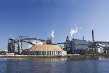 mill: riverfront Florida paper mill with large wood chip storage pile