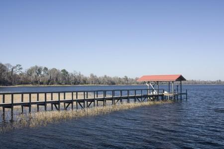 long lake: long boat dock on winter season Florida lake Stock Photo