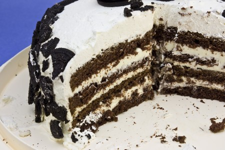a closeup of cookies and cream cake