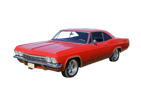 hot rod: bright red American muscle car isolated on white Stock Photo