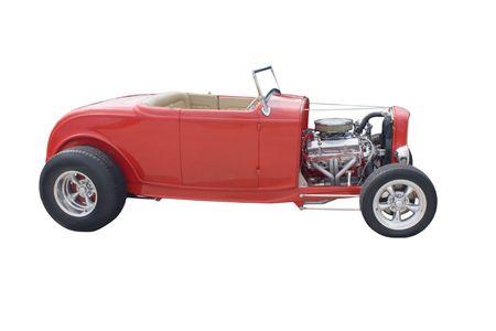 bright red open wheel hotrod on white photo