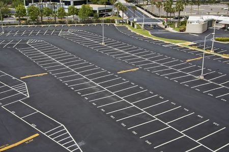 large numbered space parking lot from above Stock Photo