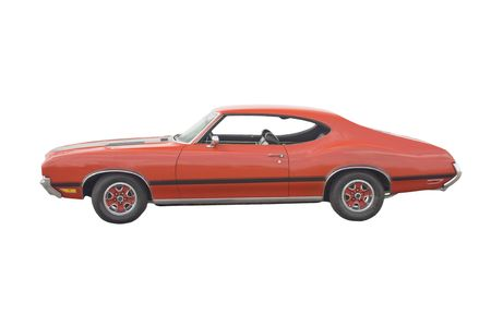Classic American red muscle car on white photo