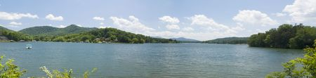 stitched panoramic of beautiful Lake Hiawassee in the North Georgia mountains