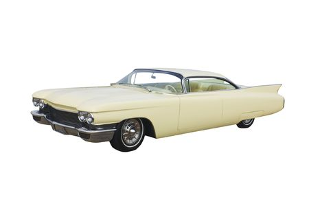Classic American yellow coupe isolated on white photo