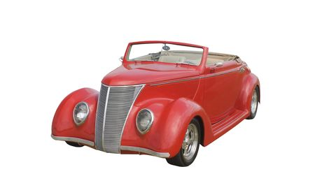 red retro coupe convertible isolated on white photo