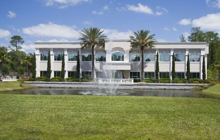 tropical Florida  landscaped office building with large fountain