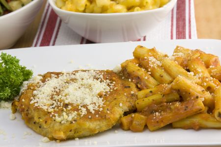 coarse grated parmesan cheese on a chicken breast with rigatoni noodles closeup Banco de Imagens - 5801504
