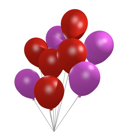 clump: clump of red and pink balloons on white