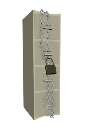 locked: data security concept showing four drawer filing cabinet with chains crushing cabinet in tight security
