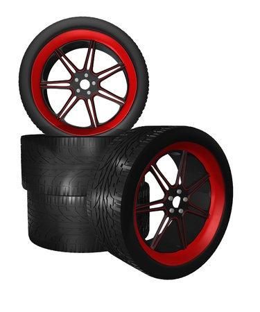 spoked: four low profile auto tires with red accent spoked rims isolated on white Stock Photo