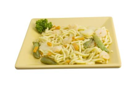 shrimp lo mein on square plate photo