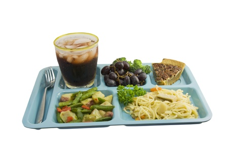sesame chicken cafeteria tray