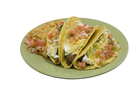 taco dinner on a green plate